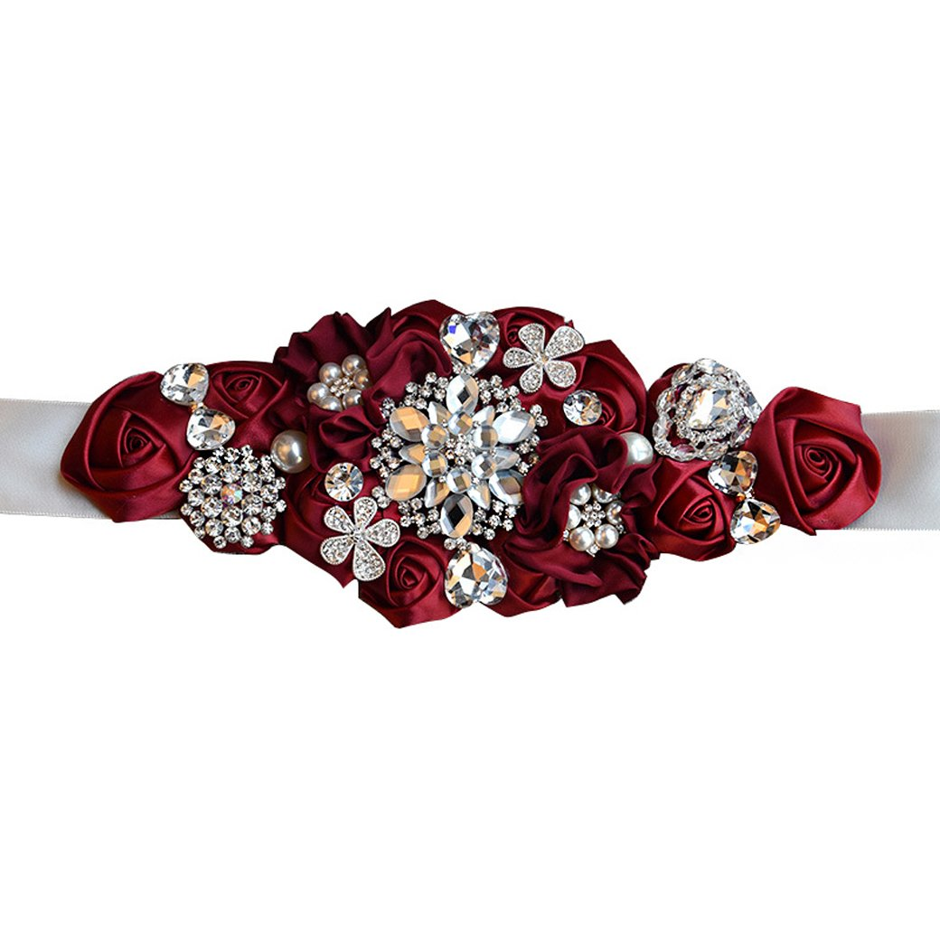 Lujuny Crystal Flower Bridal Maternity Sash Belt - Floral Ribbon Belly Band for Wedding Pregnant Baby Shower Party Photoshoot (RED)