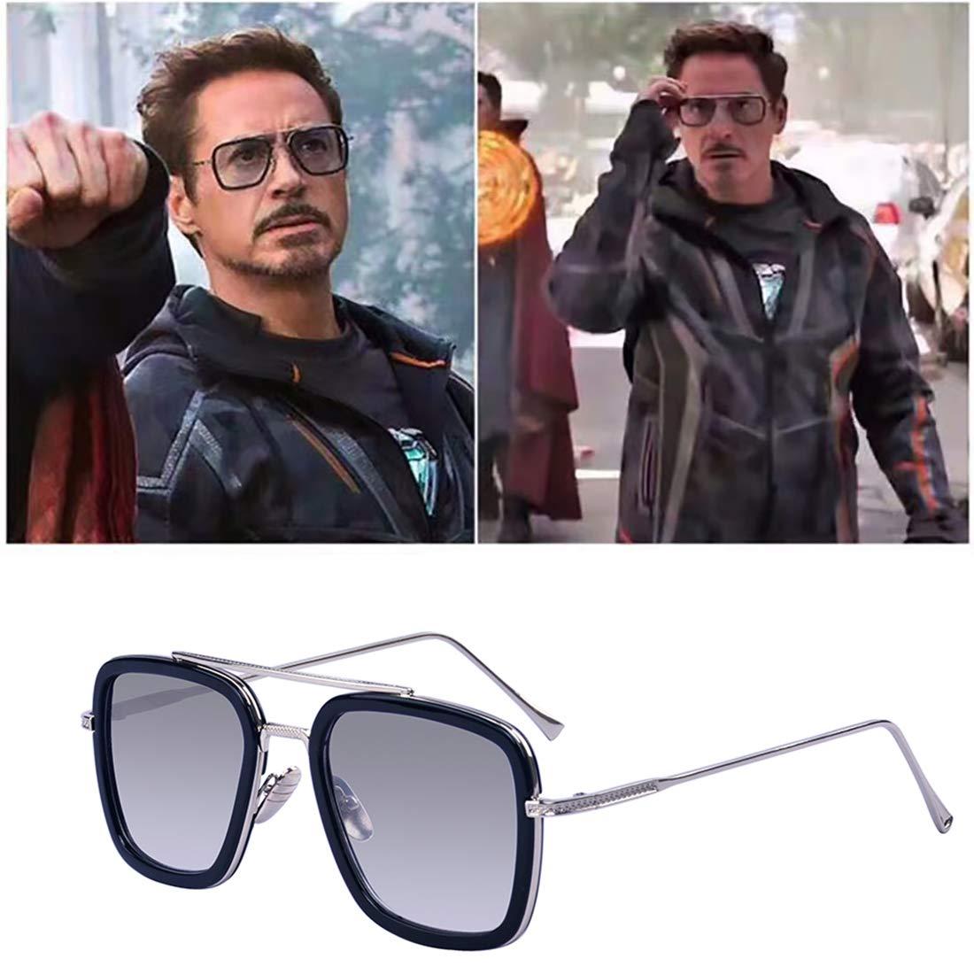 Outray Retro Iron Man Gafas de sol Tony Stark Gafas Marco de metal de gafas cuadradas para hombres, mujeres