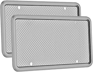 Silicone License Plate Frame, 1Pack/ 2 Pack License Plate Holder, Universal American Auto License Plate Frame for Car, Rust-Proof, Rattle-Proof, Weather-Proof- Black (Gray-2 Pack)