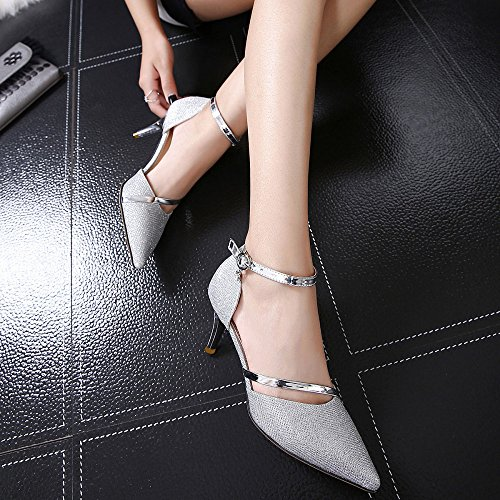 Womens Ladies Bridal Wedding Prom Party High Heels Ankle Strap Buckle Sandals Court Shoes Pumps Silver VIMdjvfAx