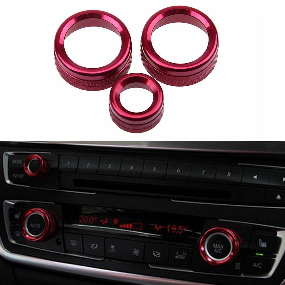 PolarLander 3Pcs/Lot Car Air Conditioning Rings Radio Volume Knob Ring Covers Decorative Circle Trim High Match Blue