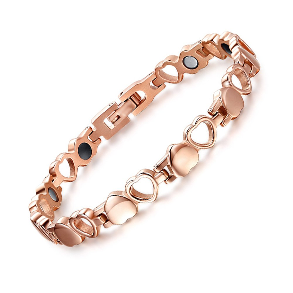 JFUME Womens Bracelet Love Heart Rose Gold Plated stainless steel Magnetic Therapy Bracelet Adjustable 7.5''