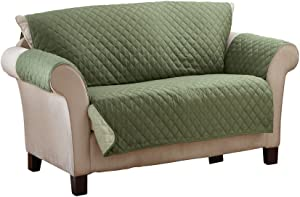 Collections Etc Reversible Quilted Furniture Protector Cover, Olive/Sage, Loveseat