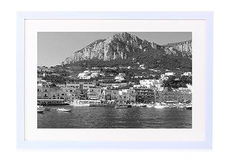 Beautiful capri italy art print white wood framed wall art picture black and white 26x14