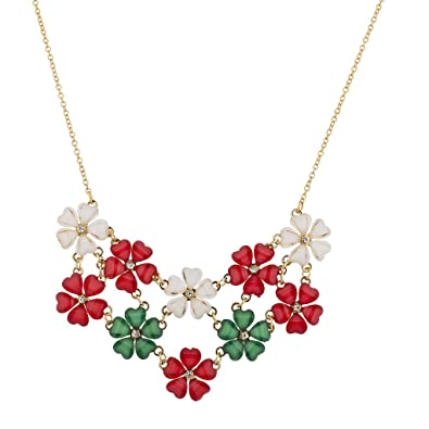 Lux Accessories Holiday Christmas Xmas Red Green White Flower