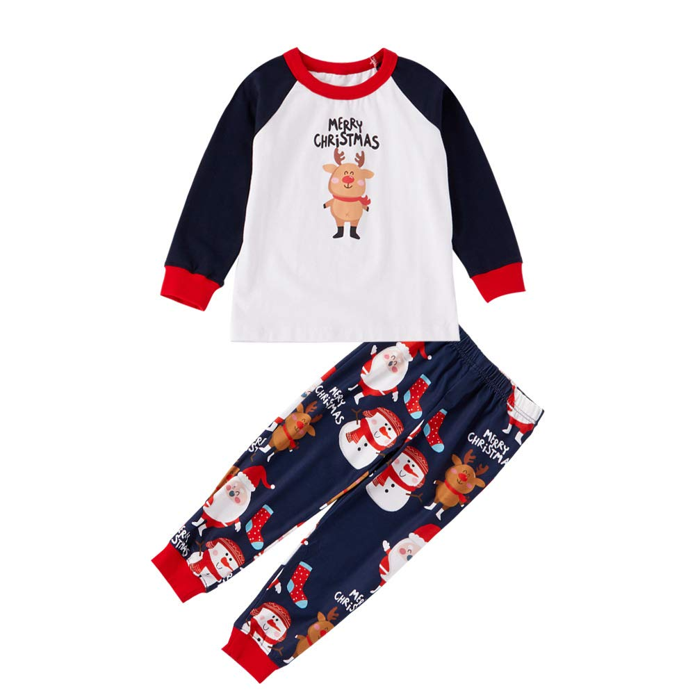 XYQB Santa Navidad Set Pijamas caseros Pijamas Impresos Traje Padre-Hijo Pijamas de Manga Larga con Cuello Redondo Navidad Pijamas,Kids,7~8T: Amazon.es: ...