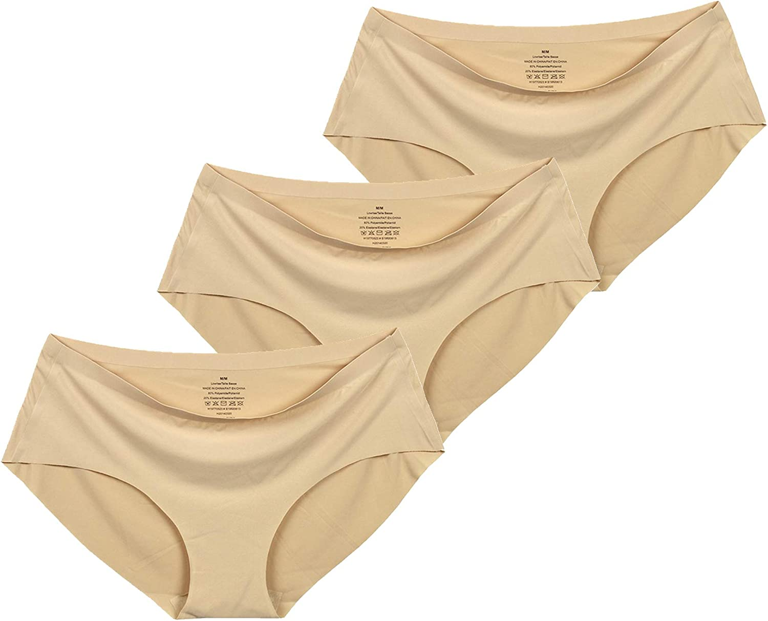 TINSINO Womens No Show Hipster Panties Invisible Seamless Hiphuggers 3 Nude XL
