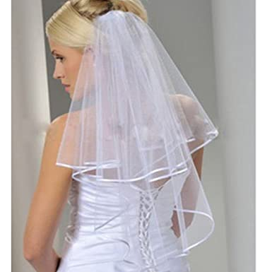 Womens White Ivory Bridal Veils Two Layer Ribbon Edge Wedding Veil With Comb