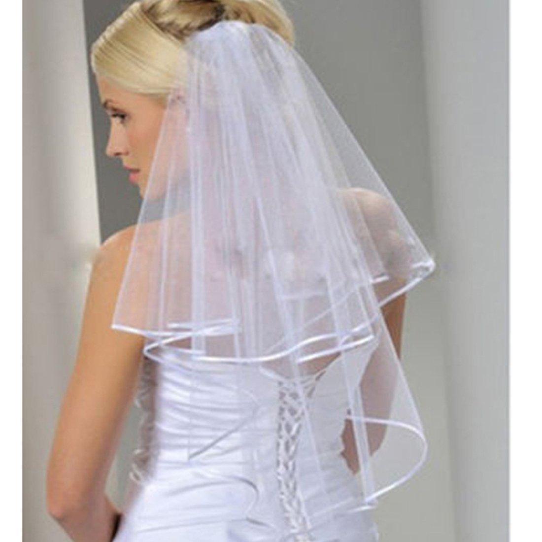 Ok Women's Cheap White Ivory Bridal Veils Two Layer Ribbon Edge Wedding Veil with Comb (Ivory)