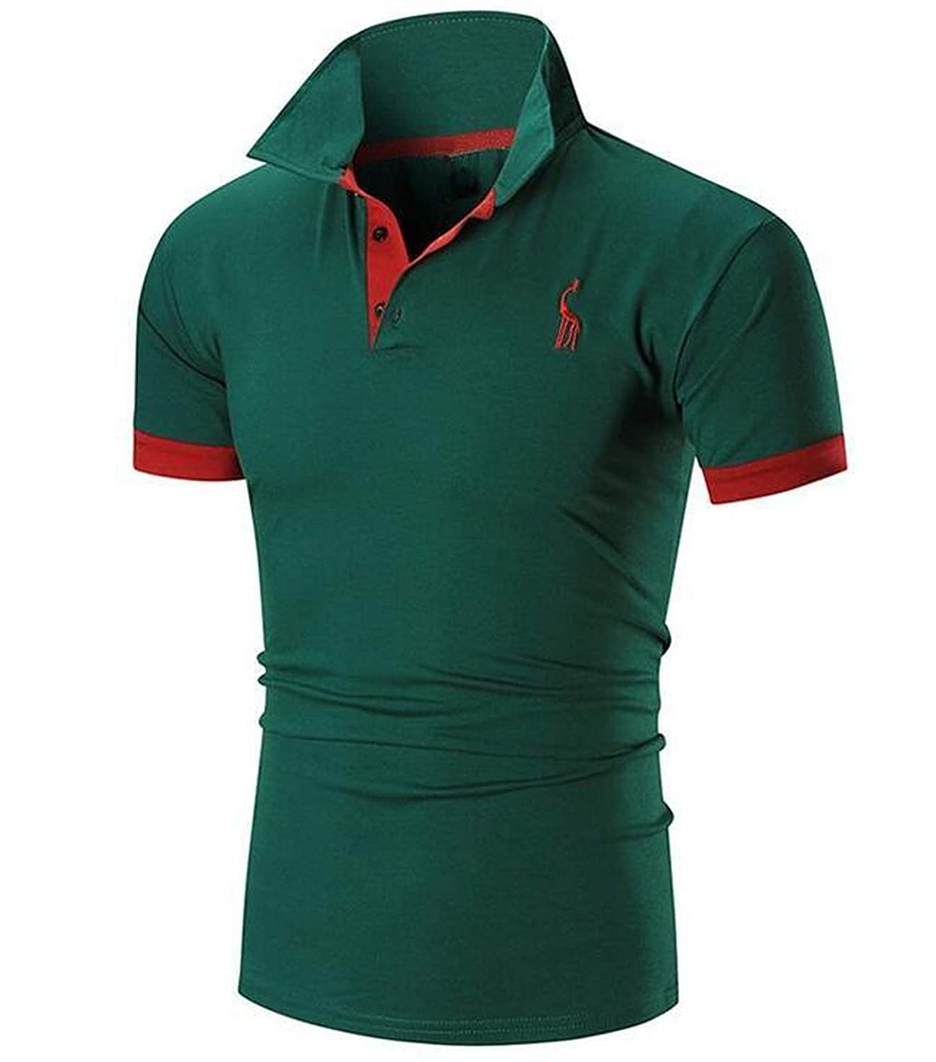EspTmall Mens Polo Shirt Male Short Sleeve Casual Slim Solid Color Deer Embroidery Polos Men 5XL