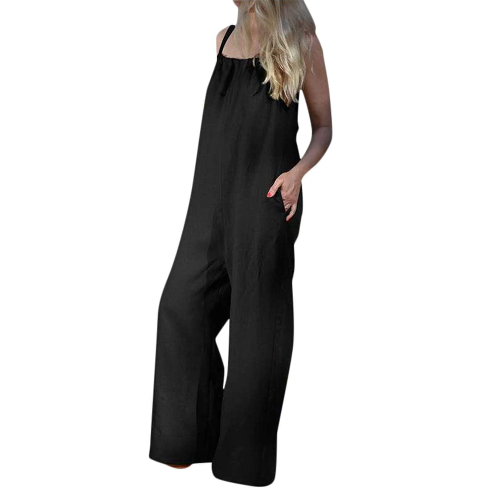 Thenxin Plus Size Jumpsuit for Women Sleeveless Wide Leg Long Pants Romper with Pockets (Black,XL)