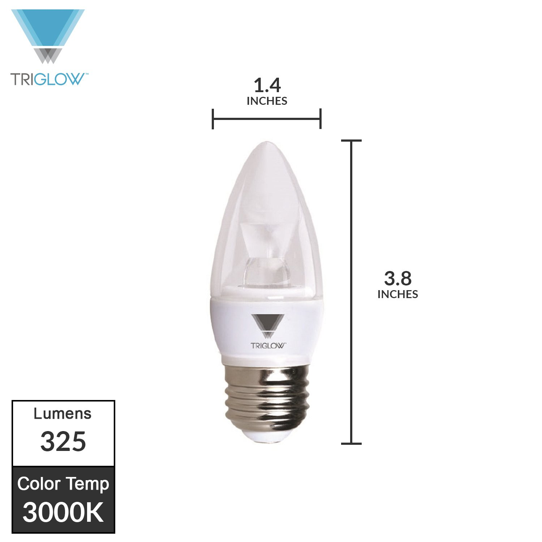 TriGlow T95543 5-Watt LED Candelabra Bulb UL Listed 40W Equivalent 325 Lumen E26 Medium Base Light Bulb DIMMABLE 3500K Deco White Color