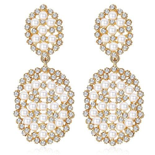 Crystal Fashion Dangle Earrings - mecresh Gold Color Fashion Simulated Dangle Pearl Earrings For Women or Bridesmaids
