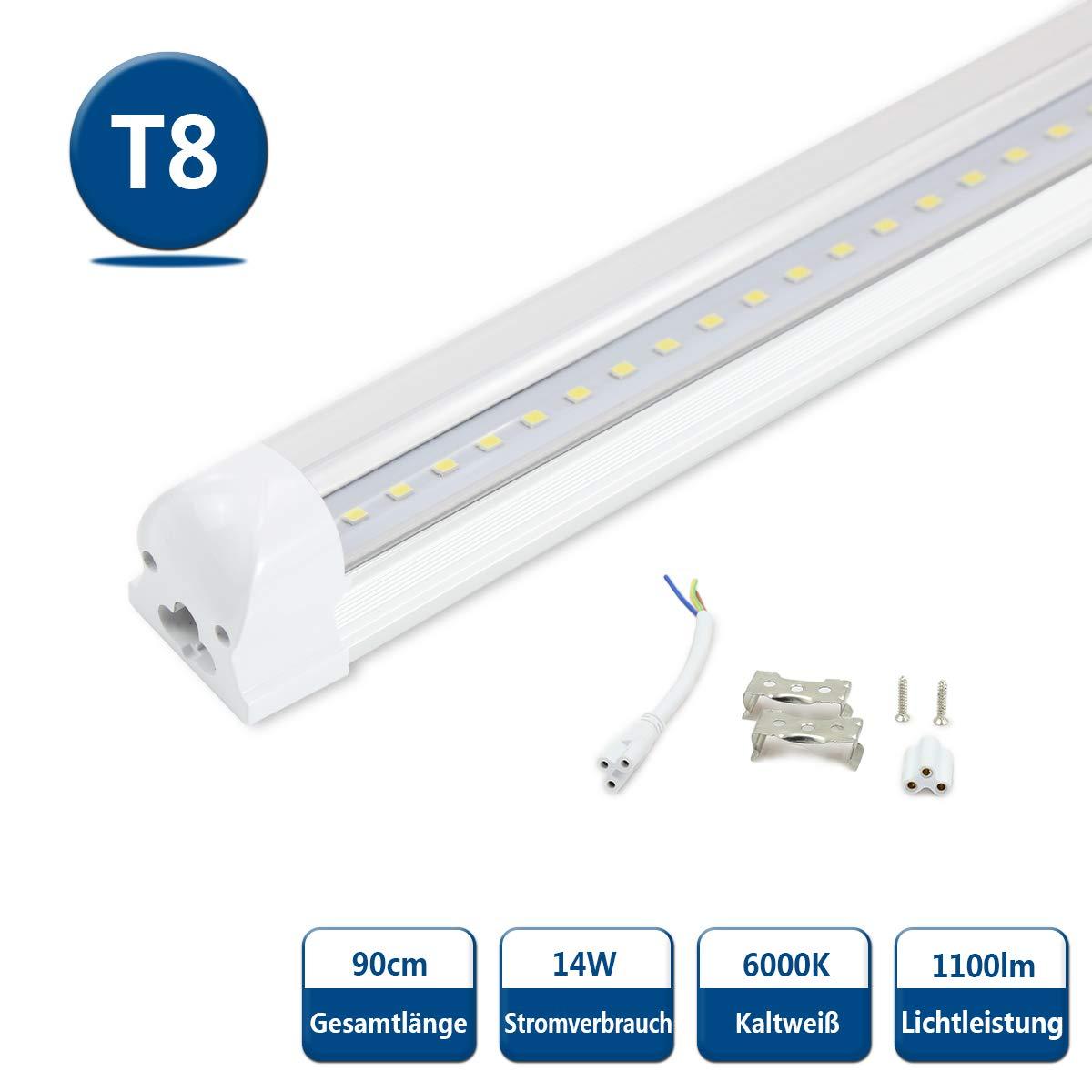 LED Tubo Tubo Tubo T8 Fluorescente 90cm Blanco Frio 6500K 1000lm 14 vatios 230 voltios G13 para Garaje, Taller, Oficina, Centros Comerciales Cubierta Transparente 50f705