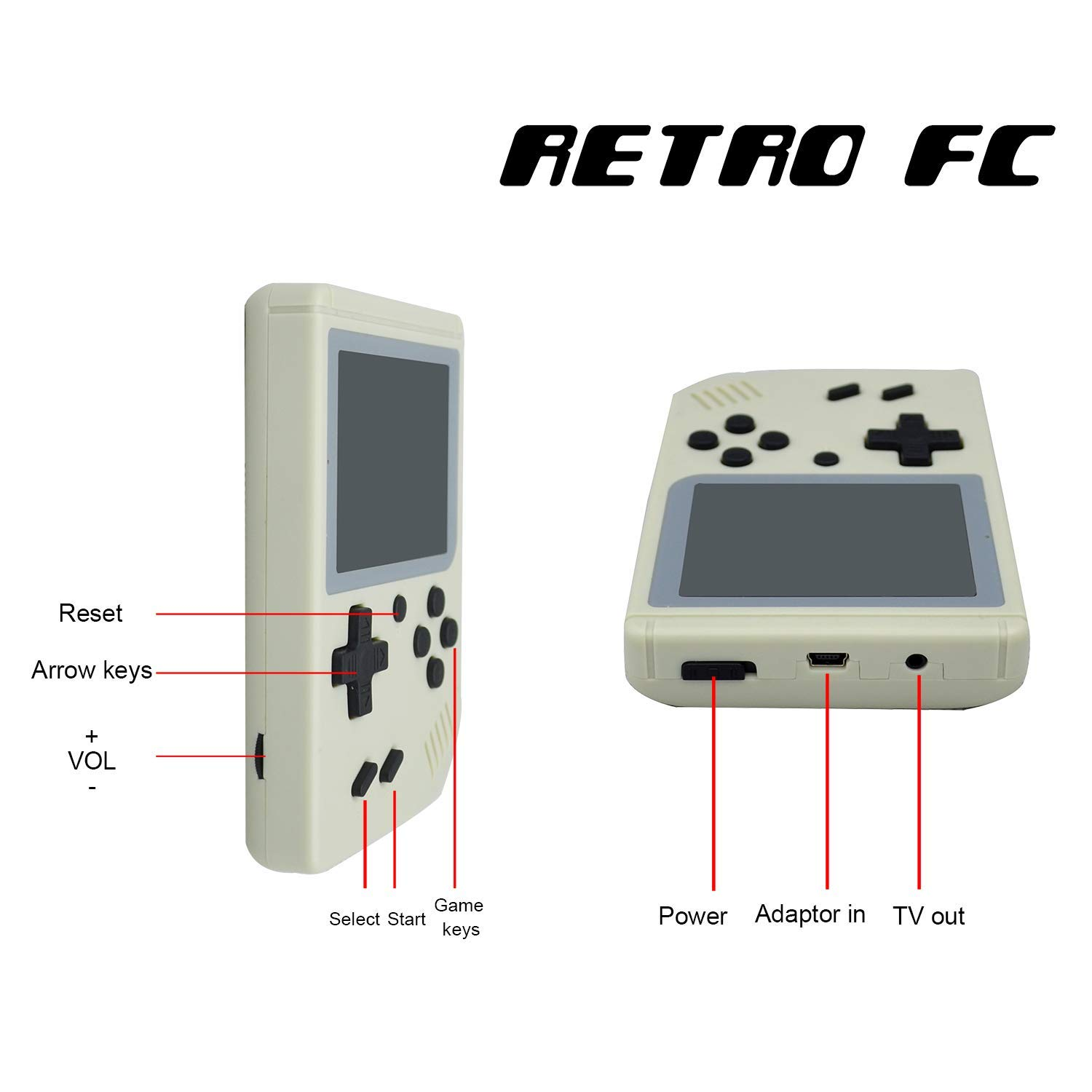 FLYFISH Handheld Game Console, Retro FC Game Console 3 Inch 168 Classic Games , Birthday Present for Children -White by FLYFISH (Image #4)