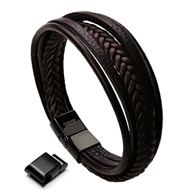 225853bd04b78 murtoo Leather Bracelet Magnetic-Clasp Cowhide Braided Multi-Layer Wrap  Mens Bracelet, 7.5-8.7 Inches