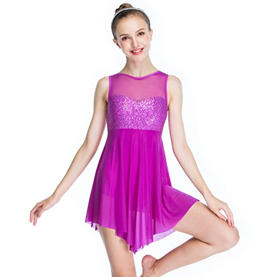 8df086978 MiDee Lyrical Dress Dance Costume Illusion Sweetheart Sequines Tank ...