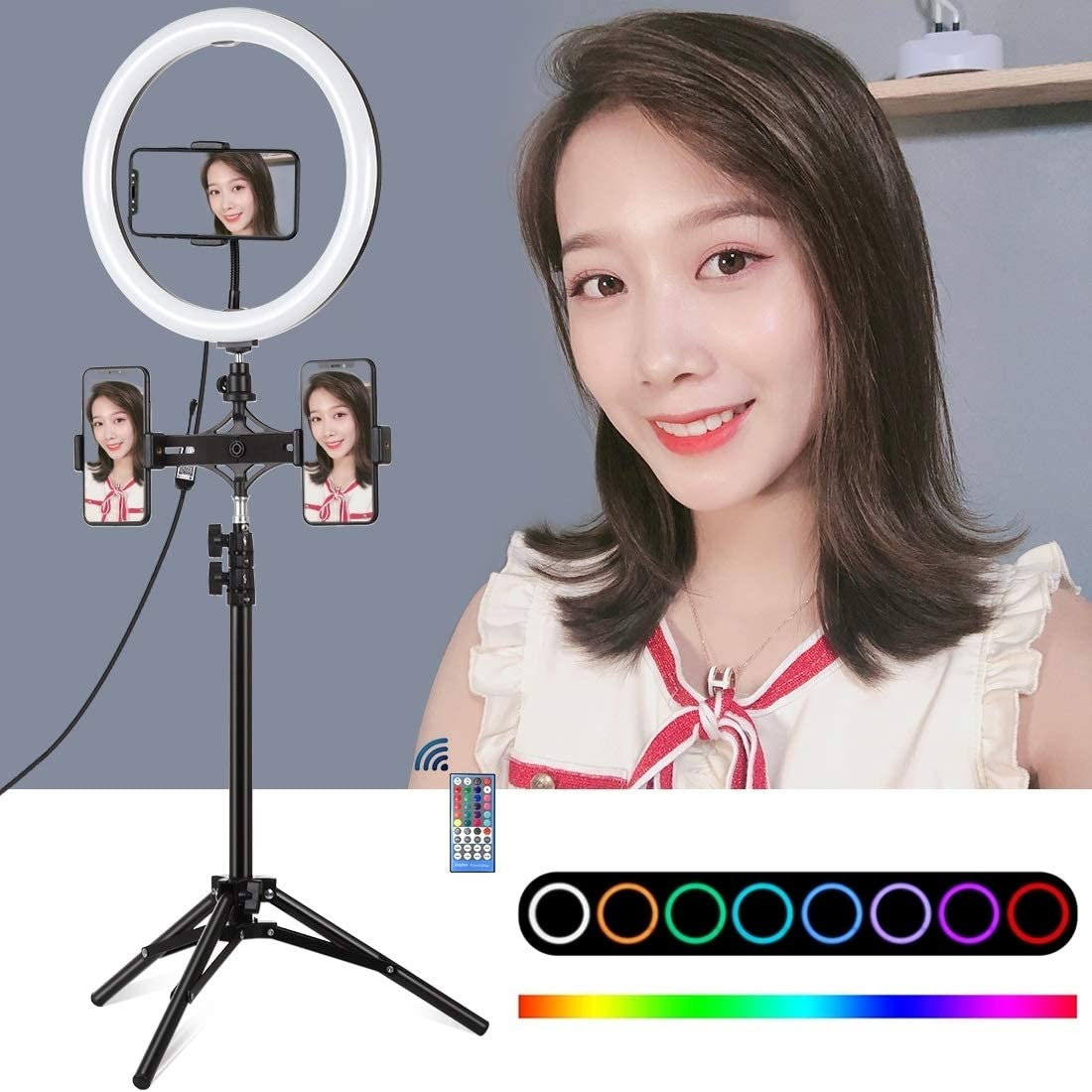 11.8 inch 30cm Curved Surface RGB Dimmable LED Dual Color Temperature LED Ring Vlogging Video Light Live Broadcast GzPuluz SLR Camera Tripod 1.1m Tripod Mount Dual Phone Brackets Horizontal Holder