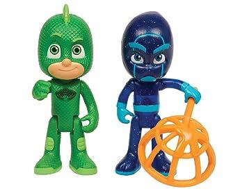 PJ Masks-24888 and Night Pack de Dos Figuras Gekko y Ninja Nocturno, Multicolor, Wave 2 (Mattel JPL24888)