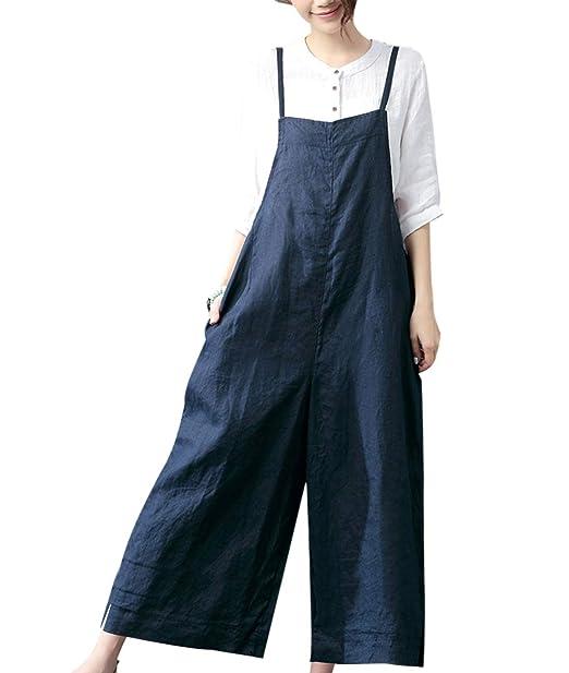 GAGA Women Casual Cotton Long Wide Leg Overalls Pants Jumpsuit