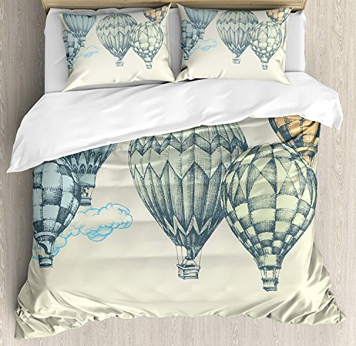 Vintage Bedding Sets, Hot Air Balloons in Soft Tones Fly in the Sky Air High Tourism Artful Design Print, 4 Piece Duvet Cover Set Quilt Bedspread for Childrens/Kids/Teens/Adults, Green Blue,King Size