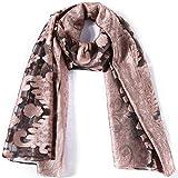 Silk Scarf Paisley Transparent Shawl Fashion Wrap Soft (Rose&black)