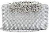 Womens Evening Bag with Flower Closure Rhinestone Crystal Clutch Purse Silver