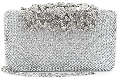 Womens Evening Bag with Flower Closure Rhinestone Crystal Clutch Purse Silver by MagicLove