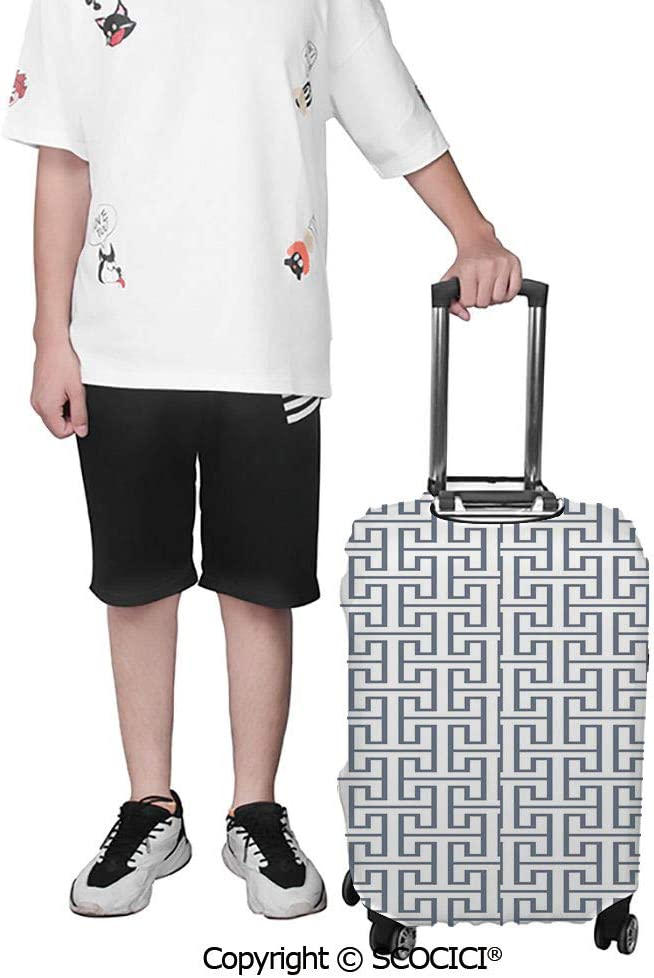 SCOCICI Luggage Cover Boy and a Cat Walking on a Rope in Front of the Full Moon Fantastic Imagery Print Protective Travel Trunk Case Elastic Luggage Suitcase Protector Cover