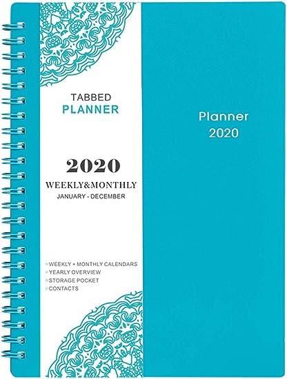 Agenda 2020 - Planner Semanal y Mensual, Spiral Agenda, 12 Fichas Mensuales, 21 Páginas de Notas, Encuadernación de Dos Cables con Bolsillo Interior ...