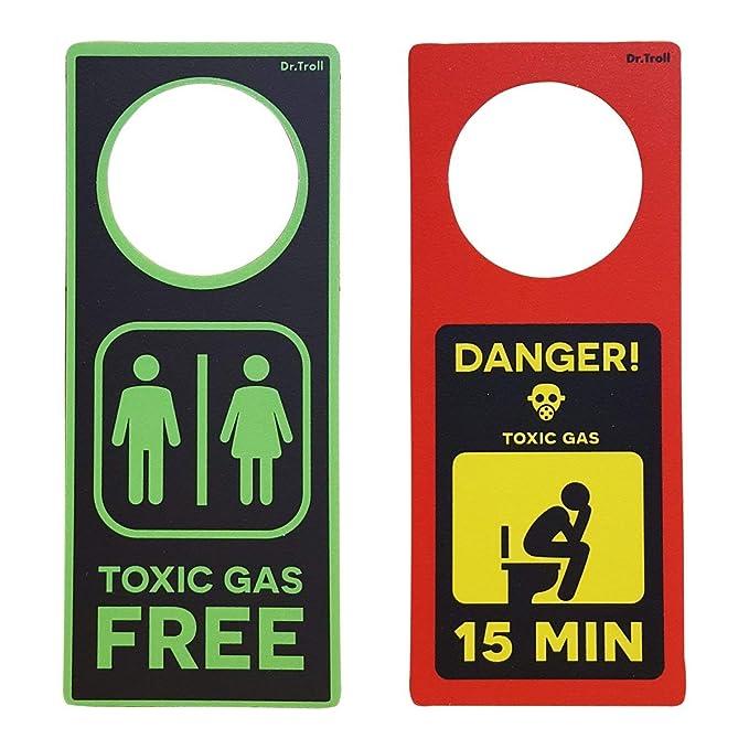 Framan Poming (Colgador para pomos) Toxic Gas, para Colocar en el Lavabo. Señal para el baño Gas tóxico.