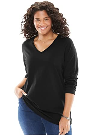 4c76482623c Woman Within Plus Size Perfect V-Neck Long Sleeve Tee at Amazon ...