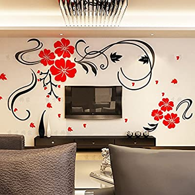 Alicemall Red Flower TV Wall Sticker Acrylic Red Blossom Floral 3D Wall Sticker, Chinese Style Removable TV Wall Art Decal Wall Mural For Living Room Decoration, 47 x 27.5 Inch