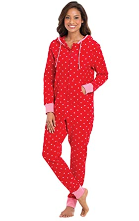 9d19f7778e91 PajamaGram Red   Pink Polka Dot Fleece Hooded Onesie for Women
