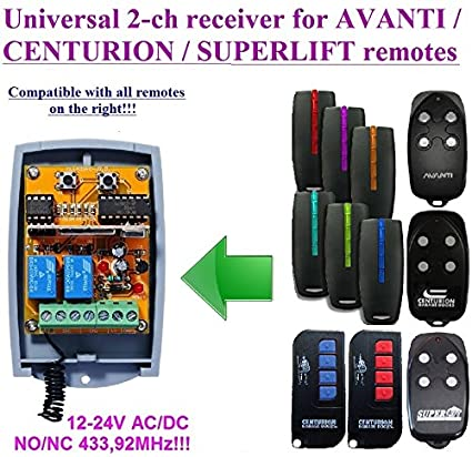 AVANTI / CENTURION compatible 2-channel receiver 12-24 VAC/VDC for AVANTI / CENTURION 433,92Mhz remote controls