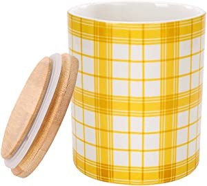 Food Storage Canister,550ML(18.6FL OZ),CosyLem Yellow Ceramic Coffee Tea Flour Powdered Sugar jar with Bamboo Airtight Lid for Kitchen