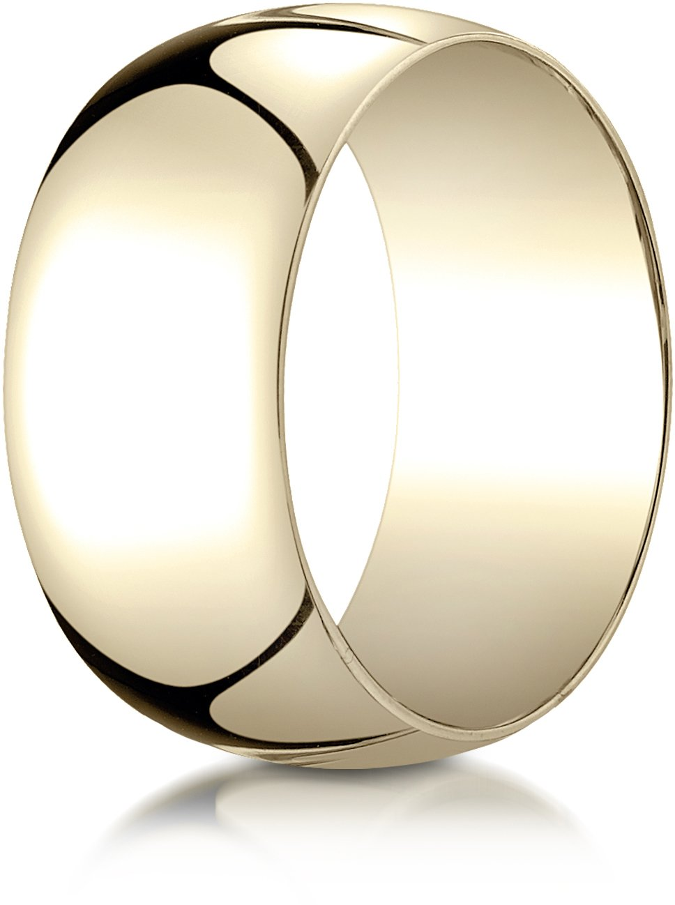 Benchmark 14K Yellow Gold 10mm Slightly Domed Traditional Oval Wedding Band Ring, Size 11
