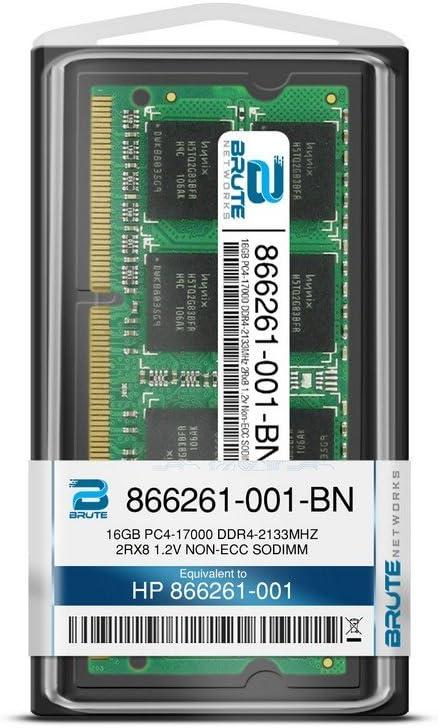 Equivalent to OEM PN # 866261-001 16GB PC4-17000 DDR4-2133MHz 2Rx8 1.2v Non-ECC SODIMM Brute Networks 866261-001-BN
