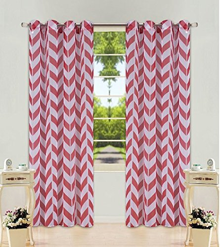 Red Chevron Pattern - GorgeousHomeLinen (S37) 2 PC Chevron Pattern Design Voile Sheer Two-Tone Window Curtain Drape Panels 8 Silver Grommets 55