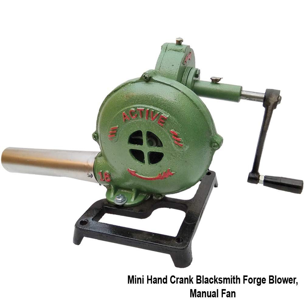 Simond Store Mini Hand Crank Blacksmith Forge Blower, Manual Fan