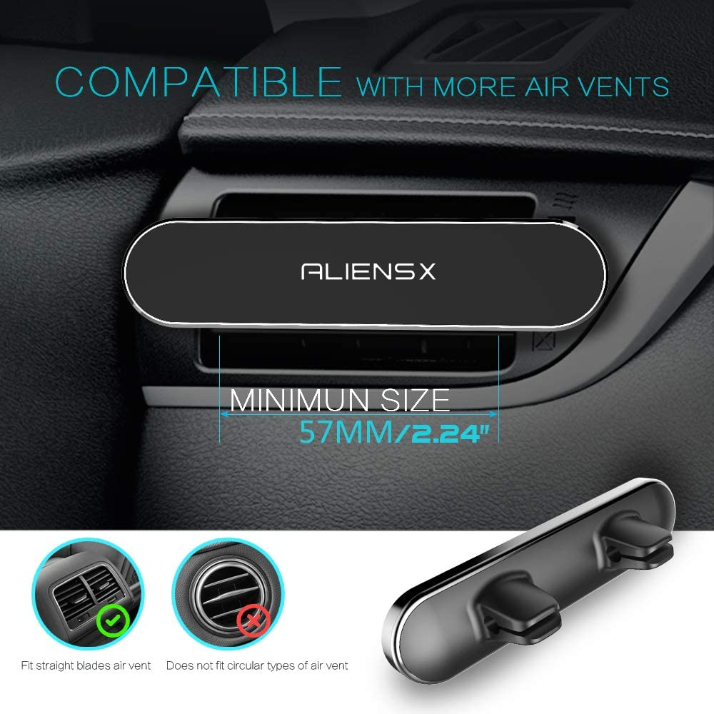 Universal Air Vent Car Phone Holder with 5 Super Strong Magnets for iPhone Xs Max XR X 8 7 6 6s Plus Samsung Galaxy S10 S9 GPS etc Silver ALIENSX Magnetic Car Phone Mount