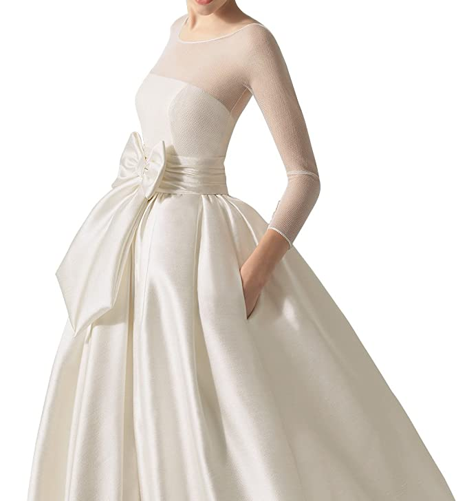DAPENE Womens Illusion Long Sleeve Tunic Ball Gown Bridal Wedding Dress at Amazon Womens Clothing store: