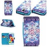 3d jelly cases for galaxy s5 - Galaxy S5 Case,Firefish [3D Printing] PU Leather Flip Folio Kickstand Wallet Case with Card Slots and Magnetic Closure Wrist Strap for Samsung Galaxy S5-Crystal Flower