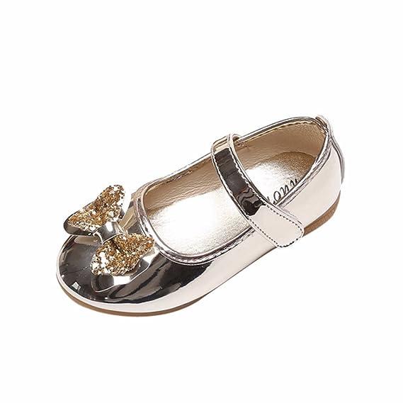 YanHoo Zapatos de bebé Primer Paso, Arco de niña Princesa Zapatos de Baile Zapatos de Rendimiento Zapatos Planos Inferiores Suaves Antideslizantes Bautismo ...