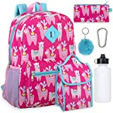 Girl's 6 in 1 Backpack Set With Lunch Bag, Pencil Case, Bottle, Keychain, Clip (Llamas)