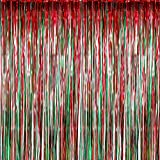 beautiful christmas decorations Sumind 4 Pack Foil Curtains Metallic Fringe Curtains Shimmer Curtain for Birthday Wedding Party Christmas Decorations (Red and Green)