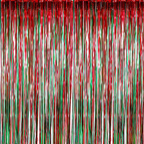 Sumind 4 Pack Foil Curtains Metallic Fringe Curtains Shimmer Curtain for Birthday Wedding Party Christmas Decorations (Red and Green) ()