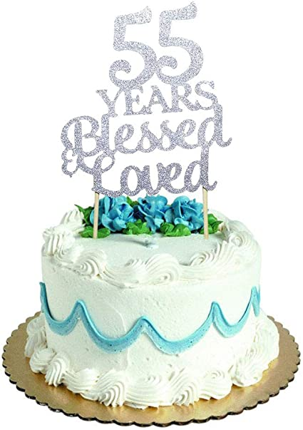 Sensational Amazon Com 55 Years Blessed Loved Cake Topper For 55Th Birthday Funny Birthday Cards Online Inifofree Goldxyz