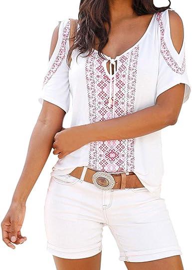 Ropa Camisetas Mujer, Camisas Mujer Verano Elegantes estampadoTallas Grandes Camisetas Mujer Manga Corta Camiseta Blusas Tops para Mujer Fiesta en la Playa (Blanco, XL): Amazon.es: Ropa y accesorios