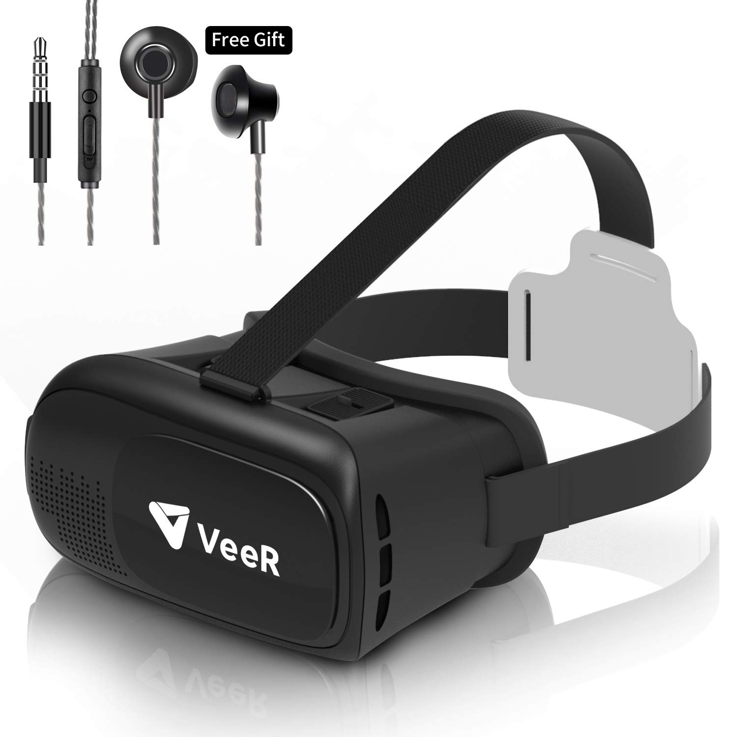 VeeR Origin VR Headset, Universal Virtual Reality Goggles Ver2.0 for 360 Movies & Video Games Compatible with Android Smartphone & iPhone, 3D VR Glasses with in-Ear Earbud Headphone by Veer